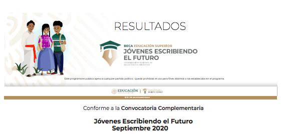 Resultados Jóvenes Escribiendo el Futuro Septiembre 2020