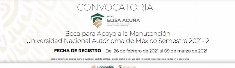 Convocatoria Beca de Apoyo a la Manutención UNAM semestre 2021-2