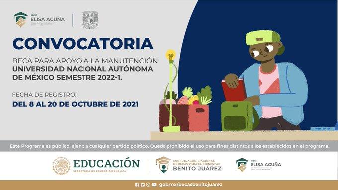 Convocatoria Beca Manutención UNAM 2022-1